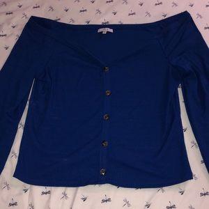 Navy blue button down blouse